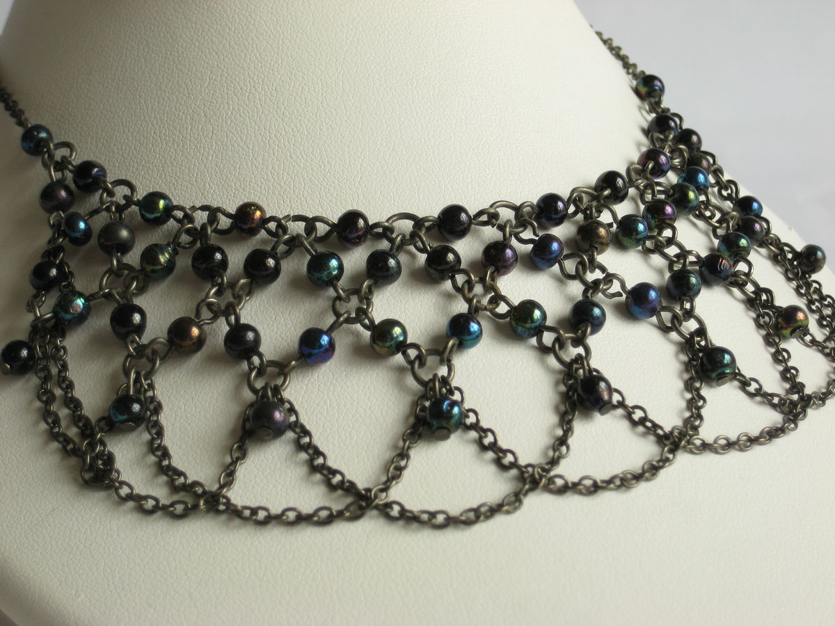 Boho style beaded bib necklace by Zad - product image