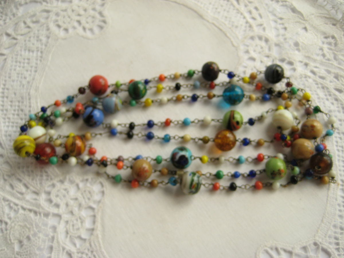 Multi-color glass bead chain necklace - product images  of