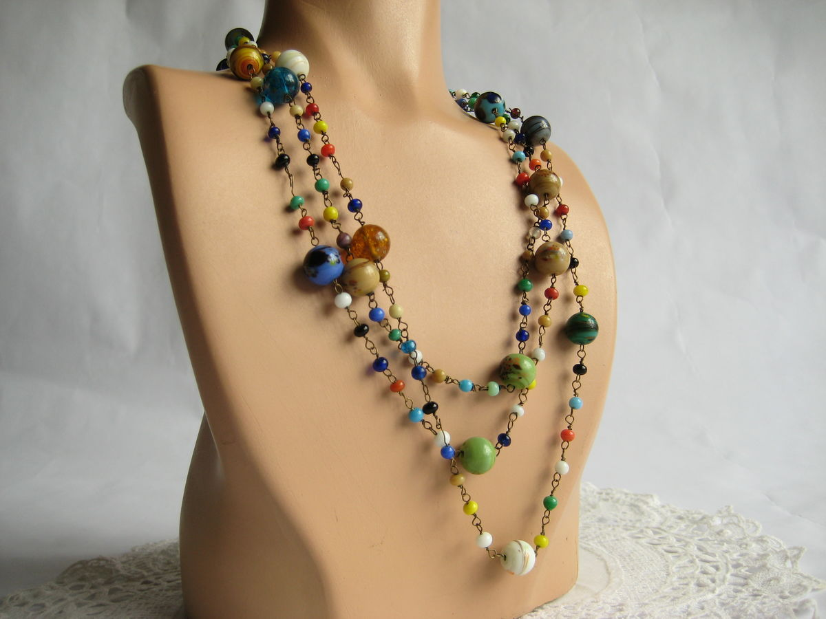 Multi-color glass bead chain necklace - product image