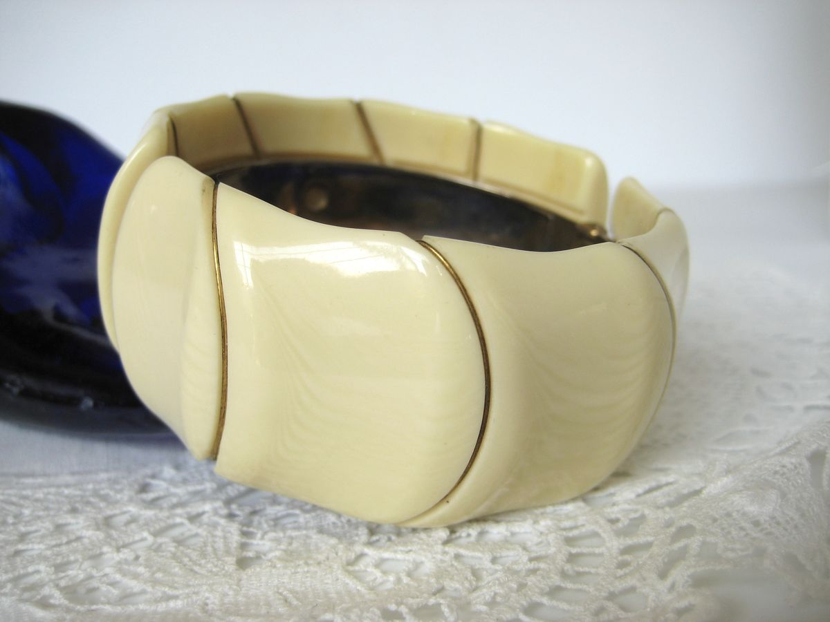 Faux Ivory and Brass Clamper Bracelet - product image
