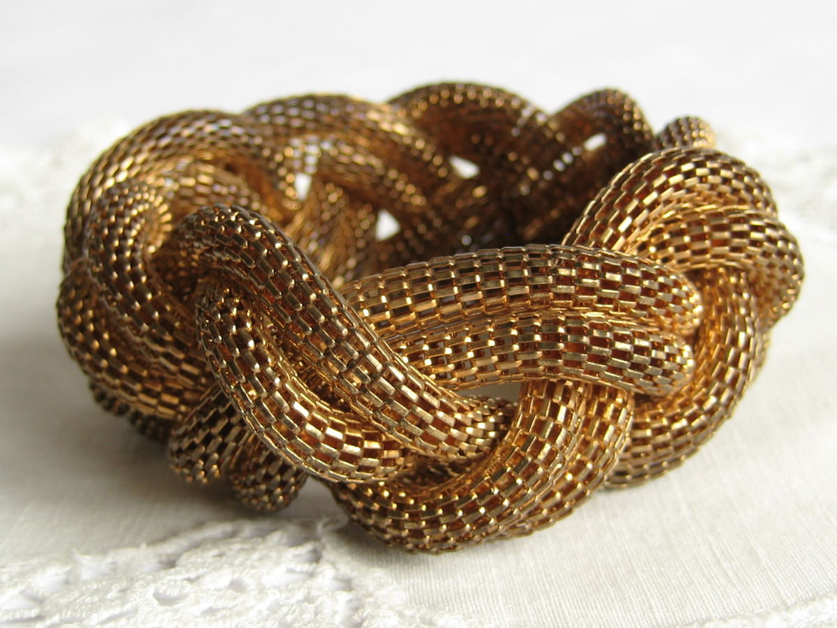 Braided mesh bracelet brass tone metal - product image