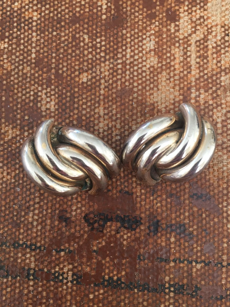 Silver modified knot earrings - product images  of