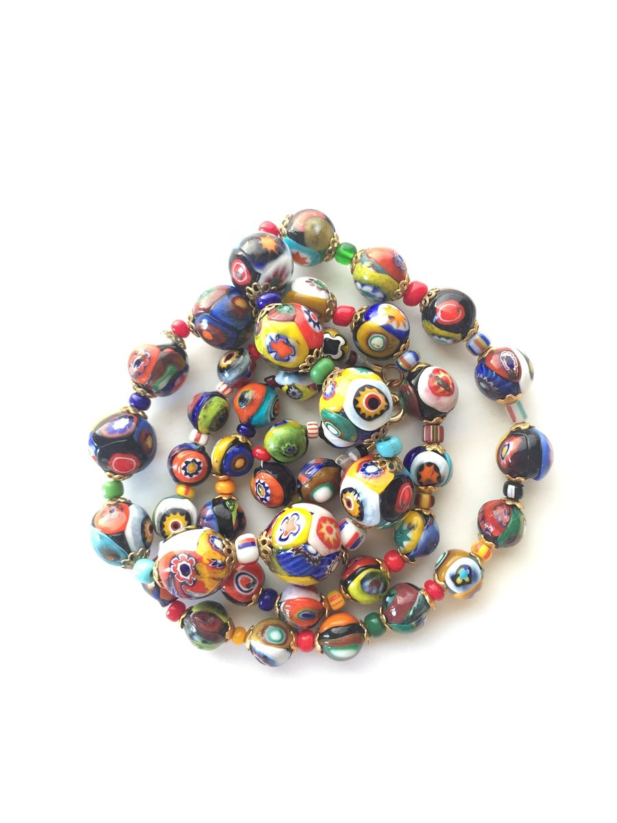 Venetian Glass Millifiori Bead Necklace - product image