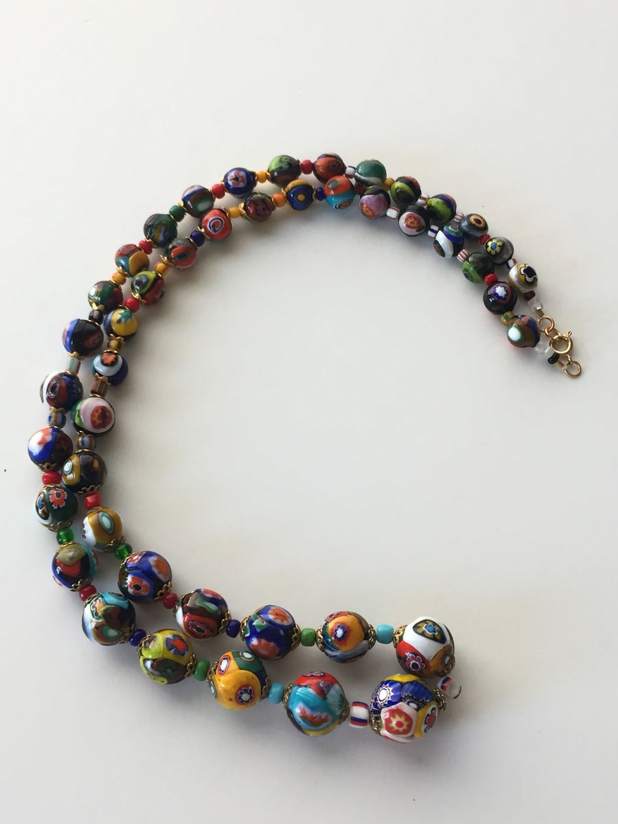 Venetian Glass Millifiori Bead Necklace - product images  of