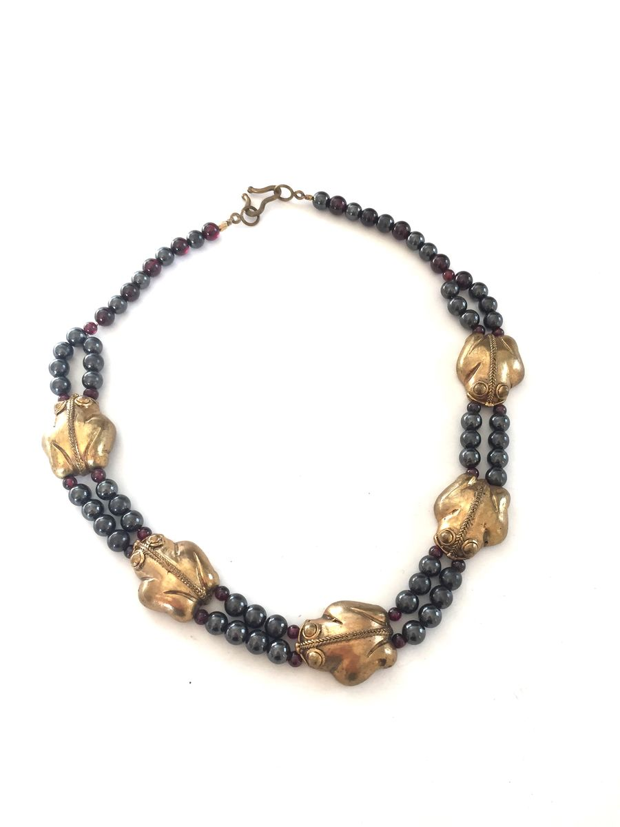 Brass frogs, hematite and amethyst bead necklace. - product image