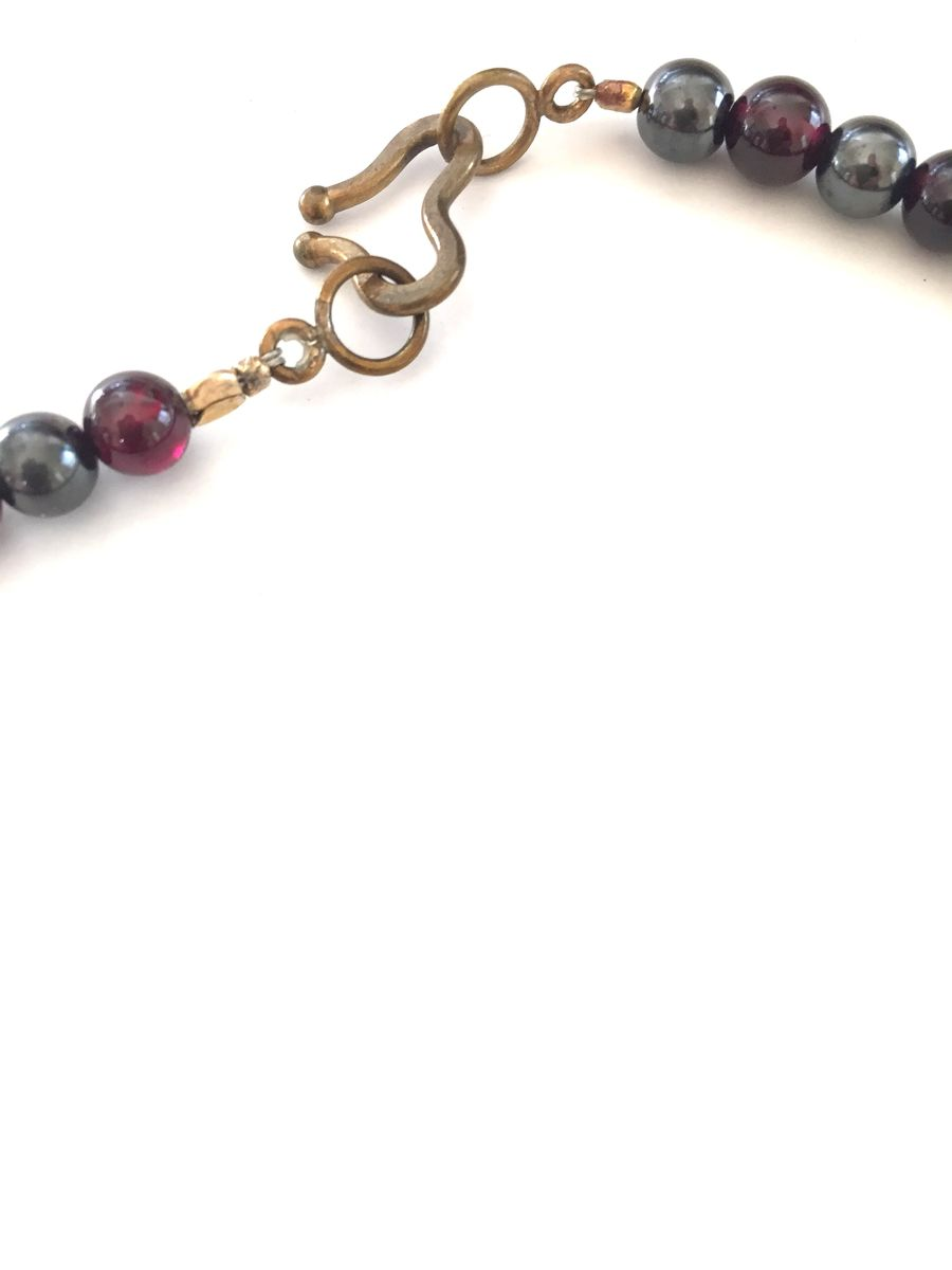 Brass frogs, hematite and amethyst bead necklace. - product images  of