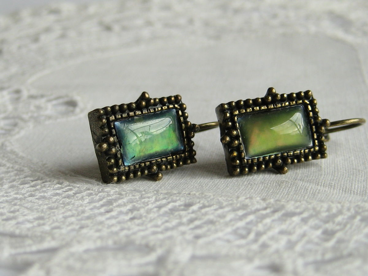 Antiqued Brass Moon Glow Earrings in Green - product image