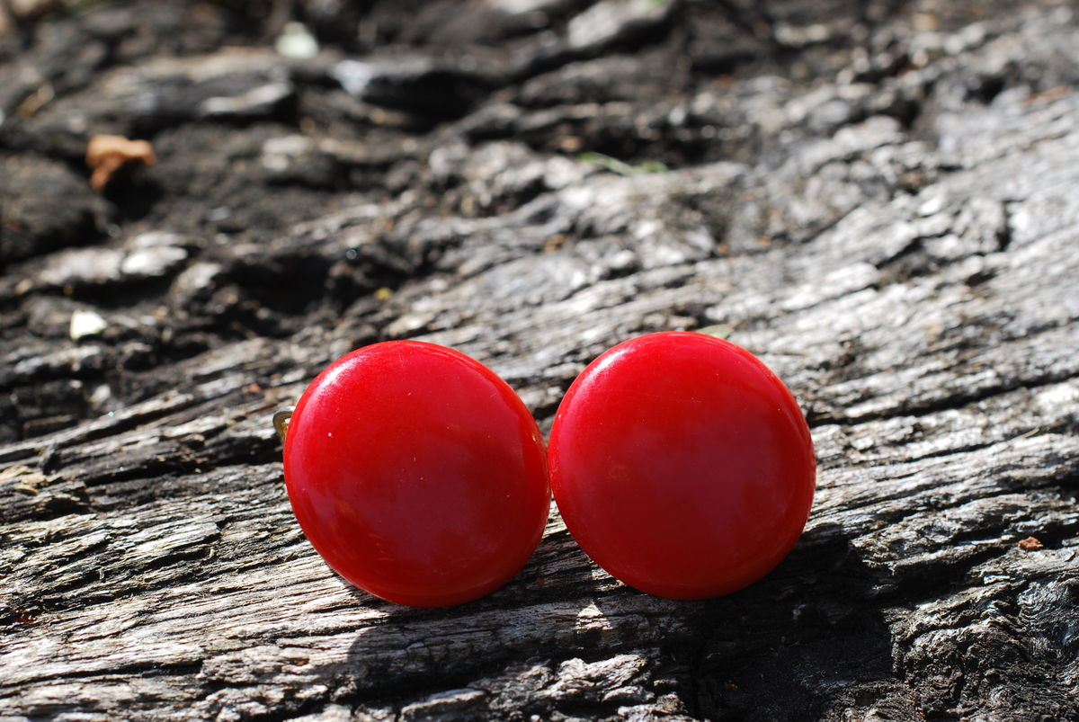 Red Button Earrings Clip On - product image