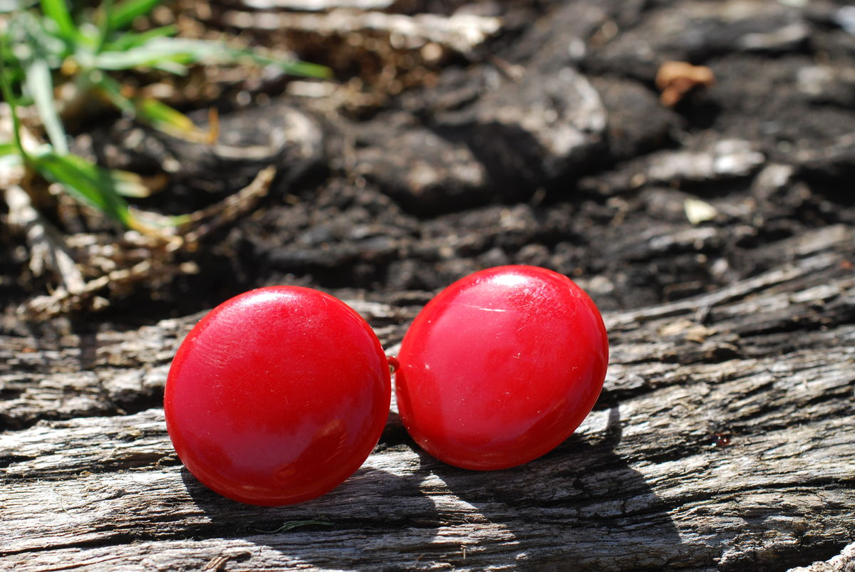 Red Button Earrings Clip On - product images  of