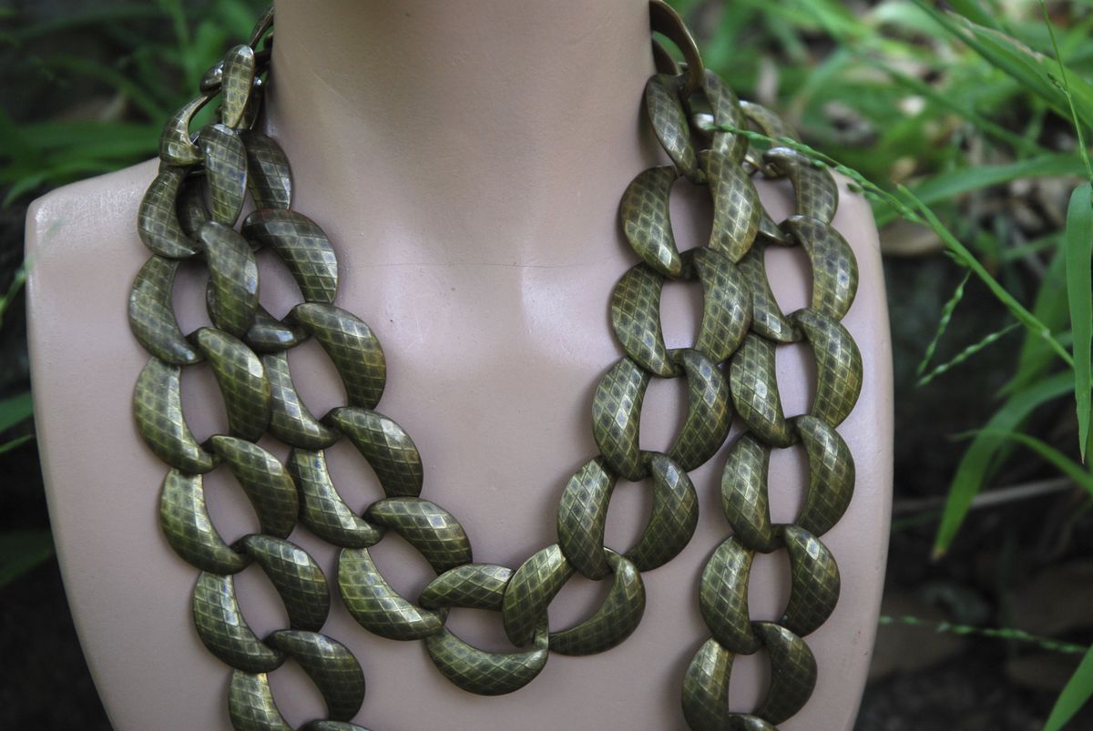 Vintage Bronze Oversize Link Necklace - product images  of