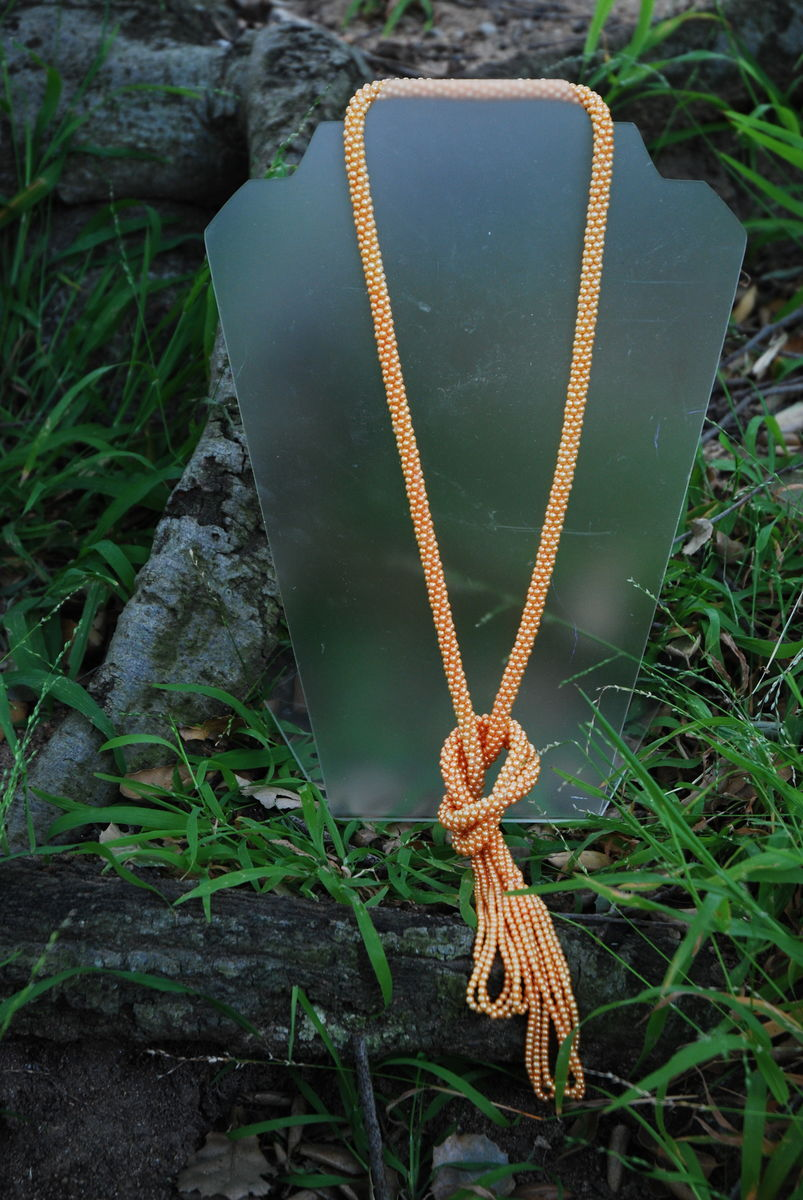 Peach Seed Bead Sautoir Flapper Necklace - product image