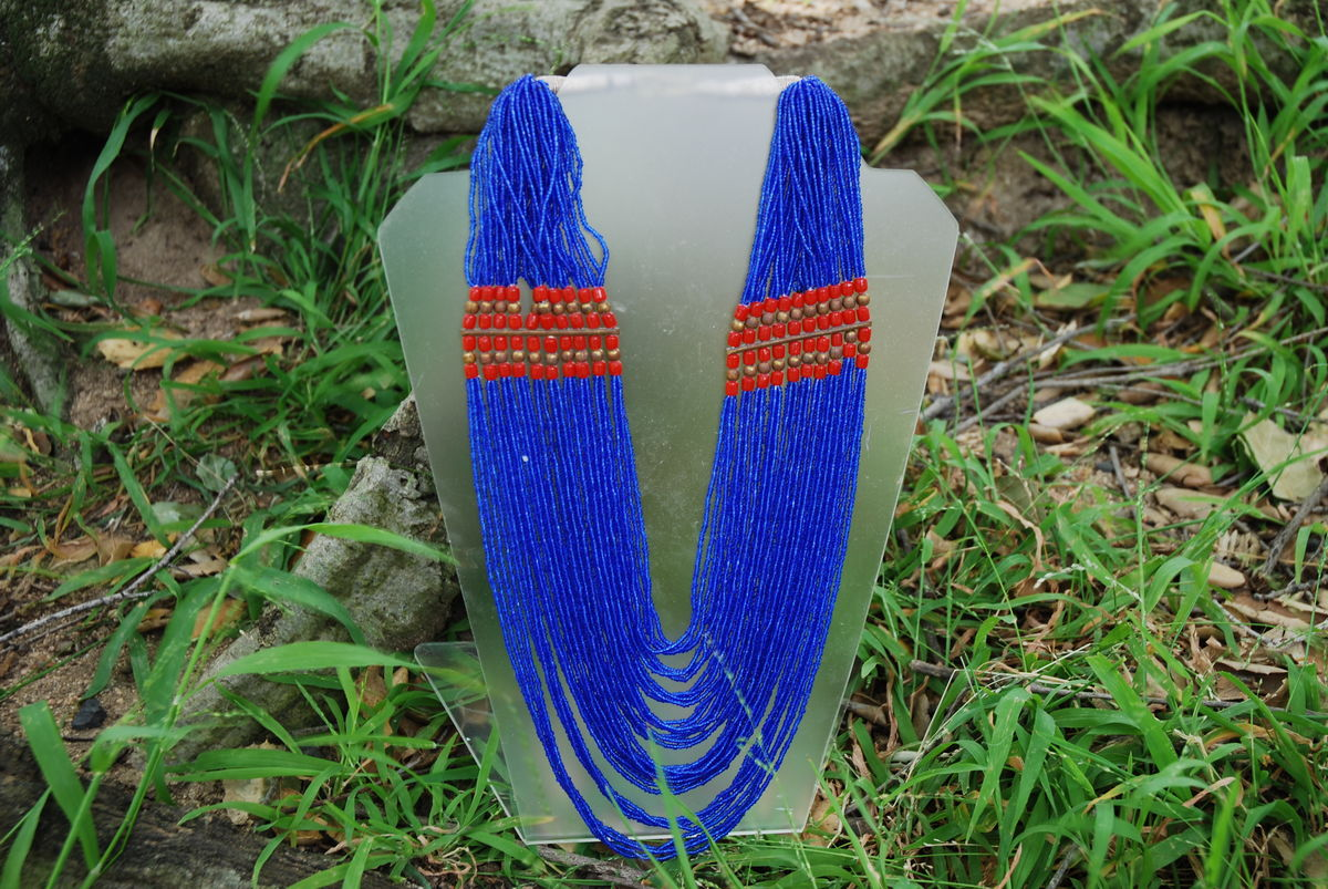 Multi Strand Bohemian Tribal Necklace Blue Seed Beads - product image