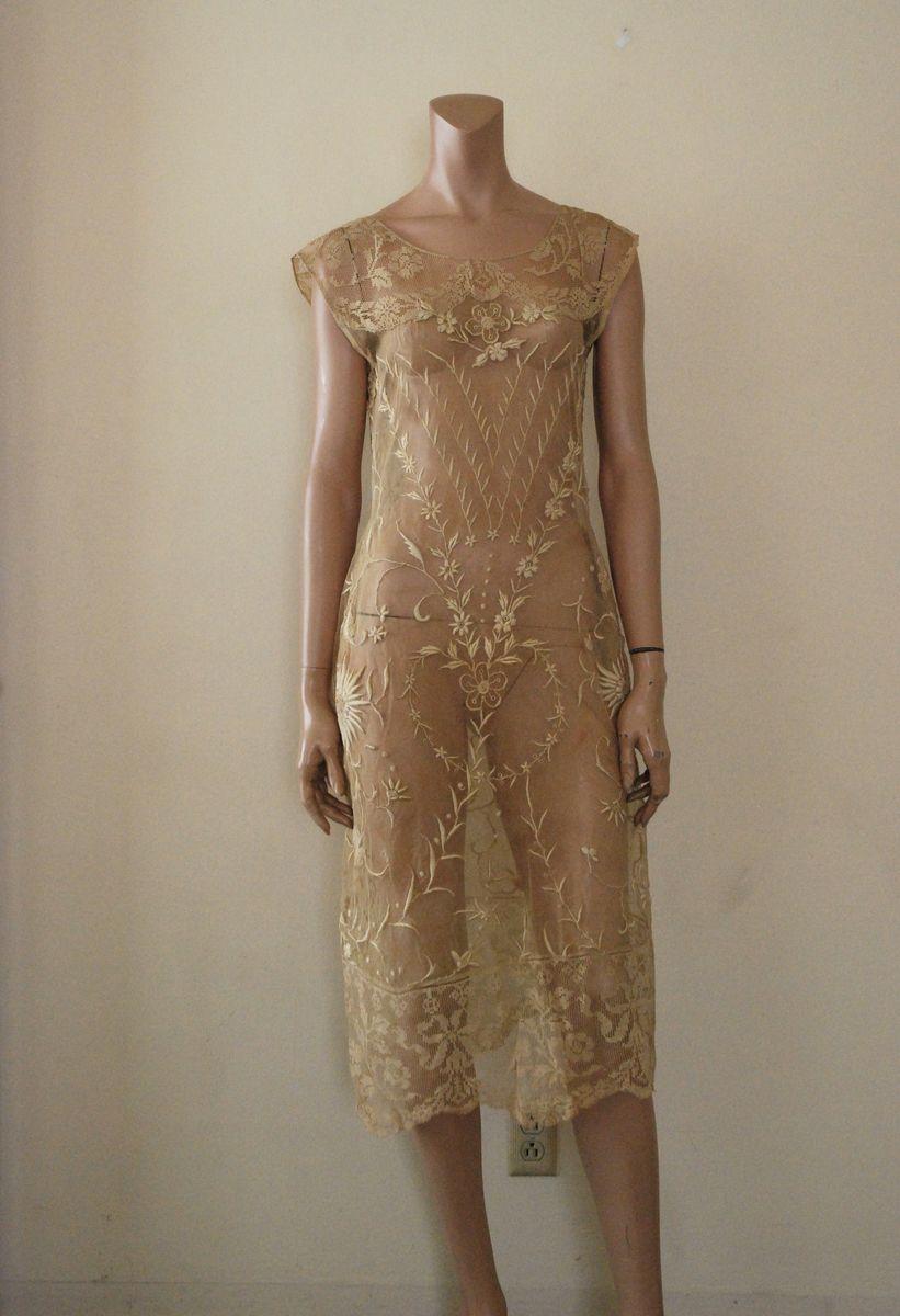 Vintage 1970\u2019s cream eyelet lace sheer dress with nude underlay Montgomery Ward