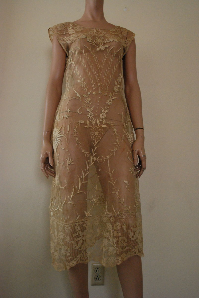 Antique Sheer Lace Dress 1920's  - product images  of