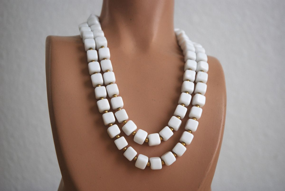 Double Strand Milk Glass Necklace Square Beads - product image