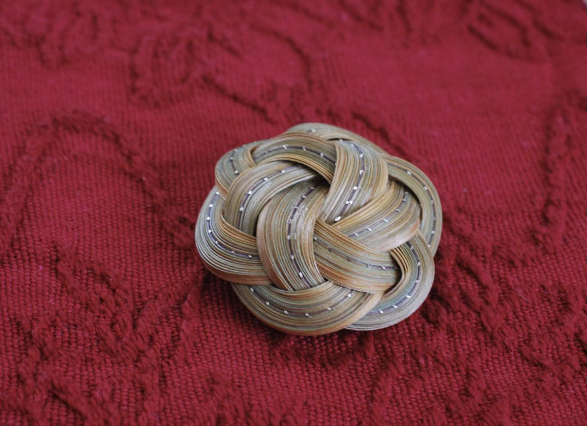 Infinity Flower Brooch in Split Bamboo - product images  of