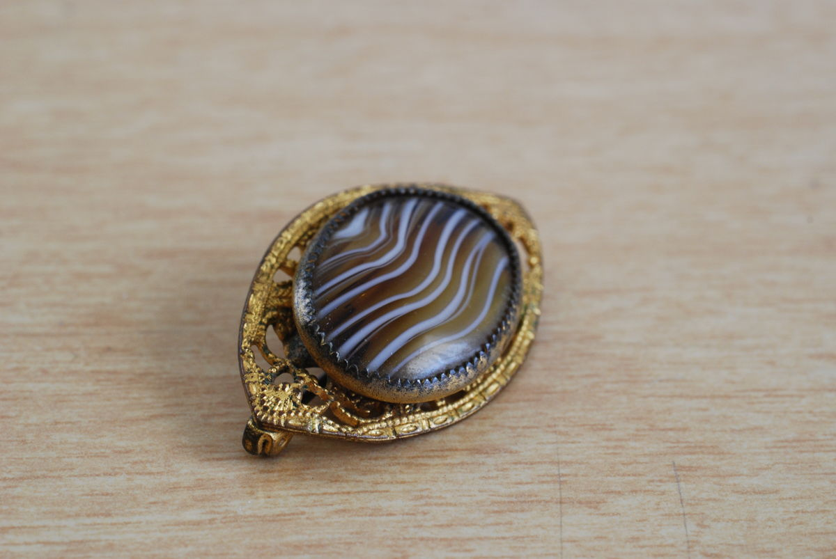 Antique Banded Agate Pin/Brooch - product images  of