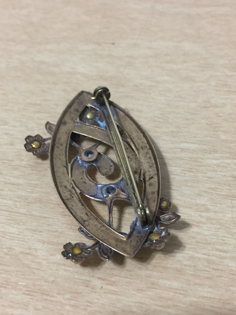 Antique stamped brass brooch with flowers - product images  of