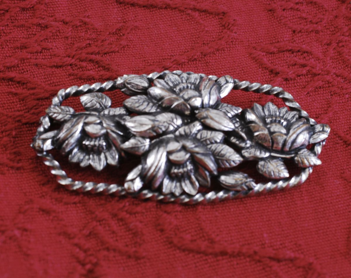 Large Floral Brooch in Silver Repousse - product image