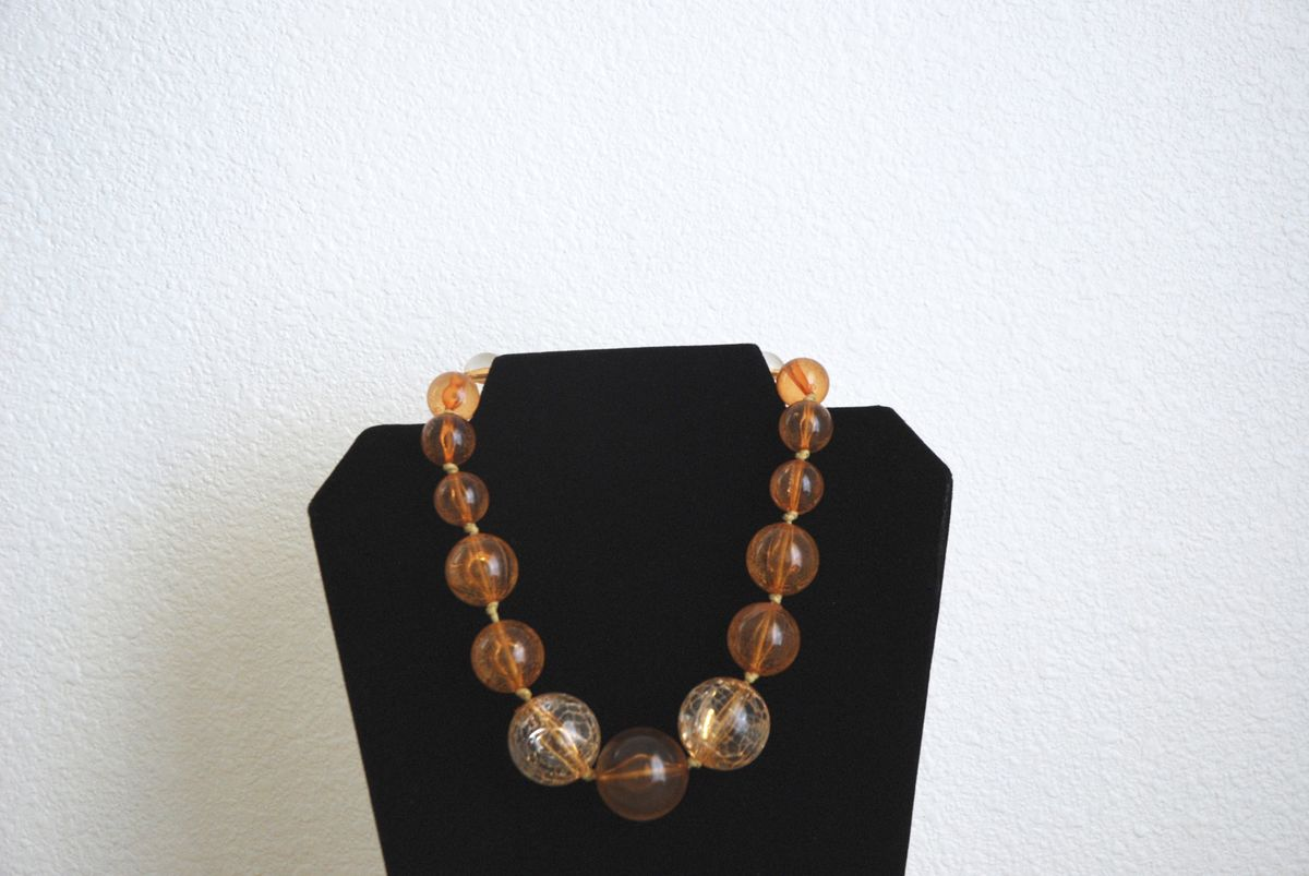 Huge Statement Choker Amber Lucite Necklace Crackle Beads  - product images  of
