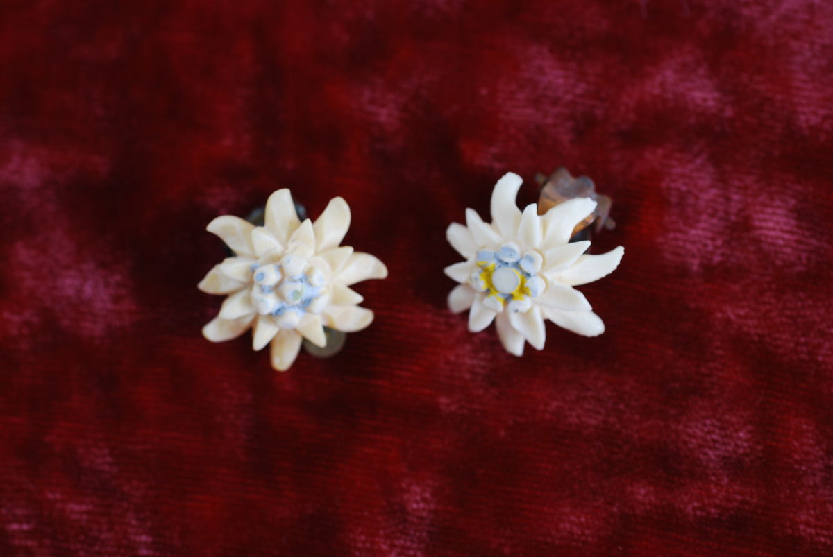 Edelweiss Flower Earrings in Carved Bone Clip On - product image