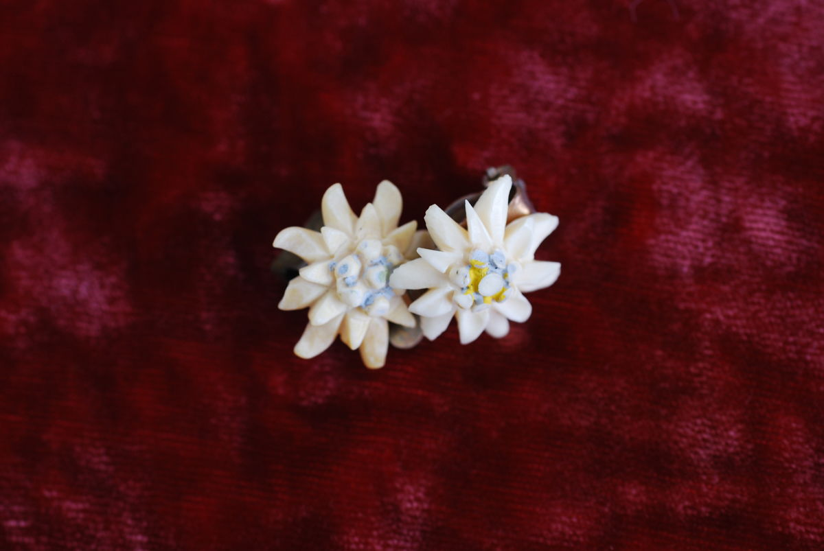 Edelweiss Flower Earrings in Carved Bone Clip On - product images  of