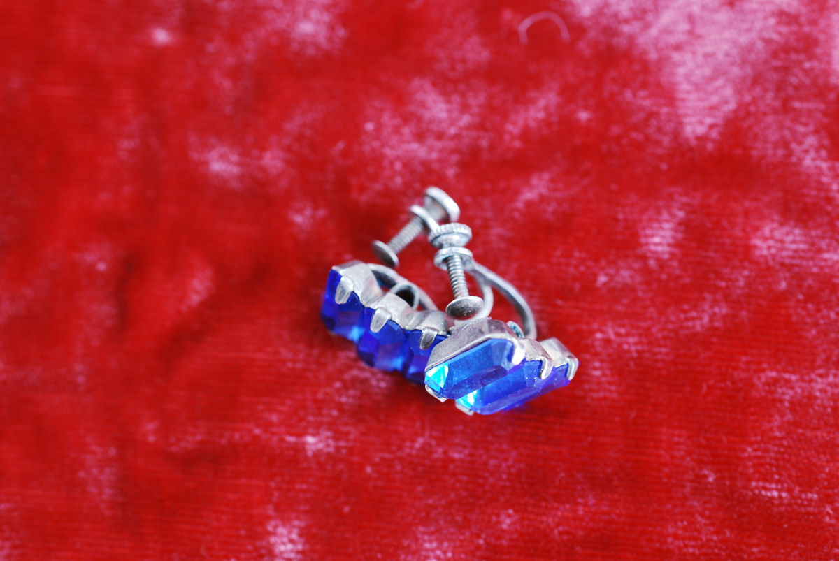 Antique Sterling Sapphire Glass Earrings - product images  of