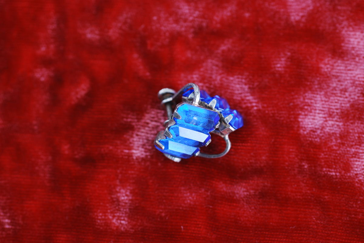 Antique Sterling Sapphire Glass Earrings - product image