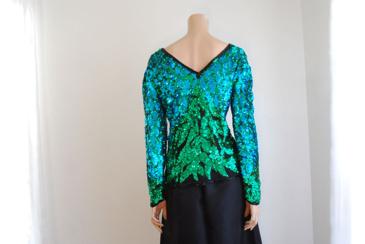 Vintage Sequin Silk Blouse Turquoise Green and Black - product images  of