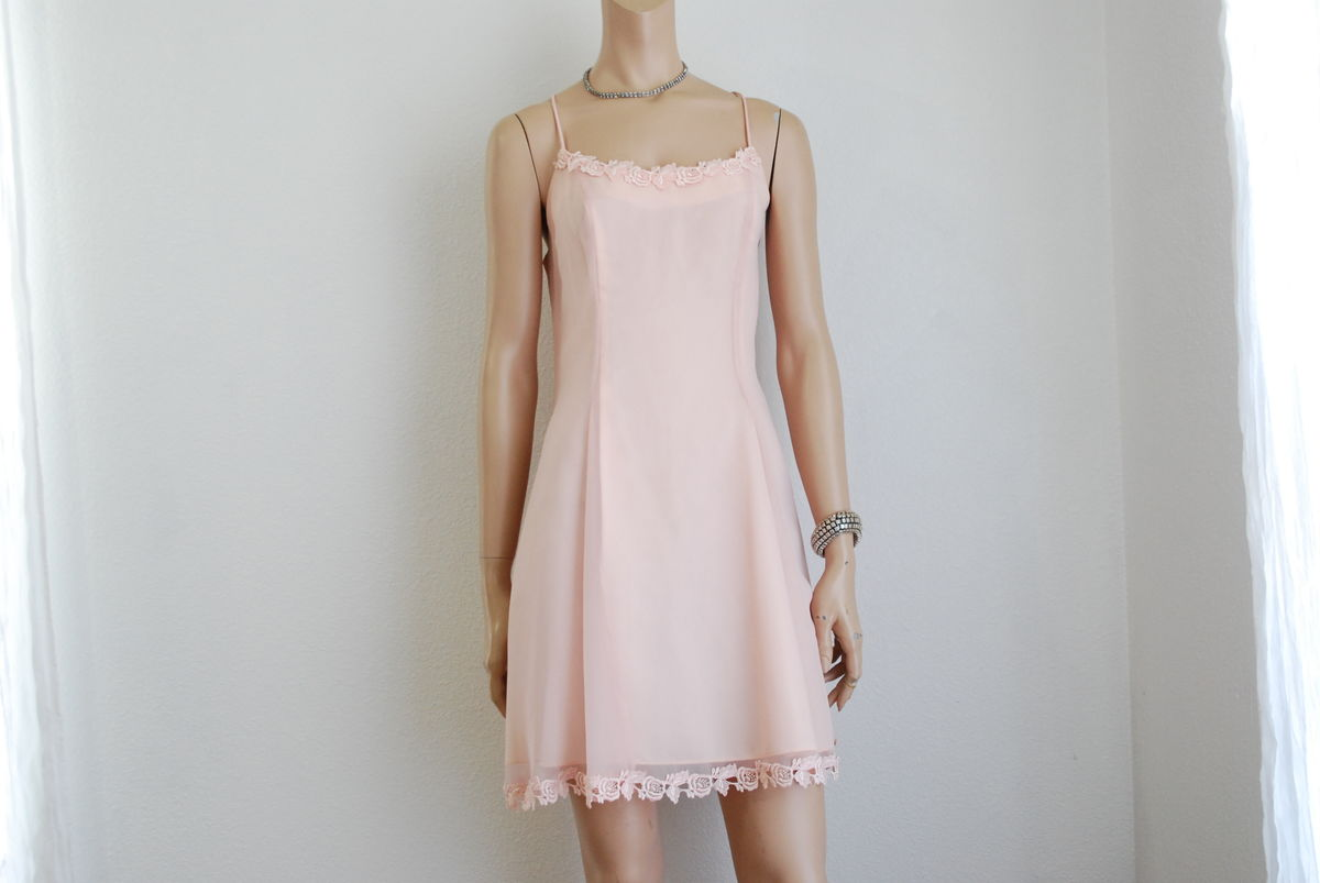 Sheer Pink Summer Dress A Line Spaghetti Strap - product image