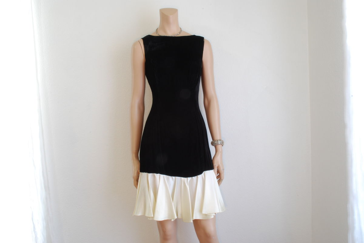 Vintage Black Velvet Dress with Cream Satin Drop Waist - product image
