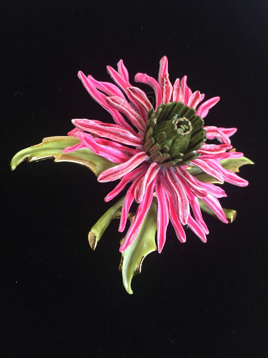 Vintage Corocraft Pink Enamel Chrysanthemum Brooch - product images  of