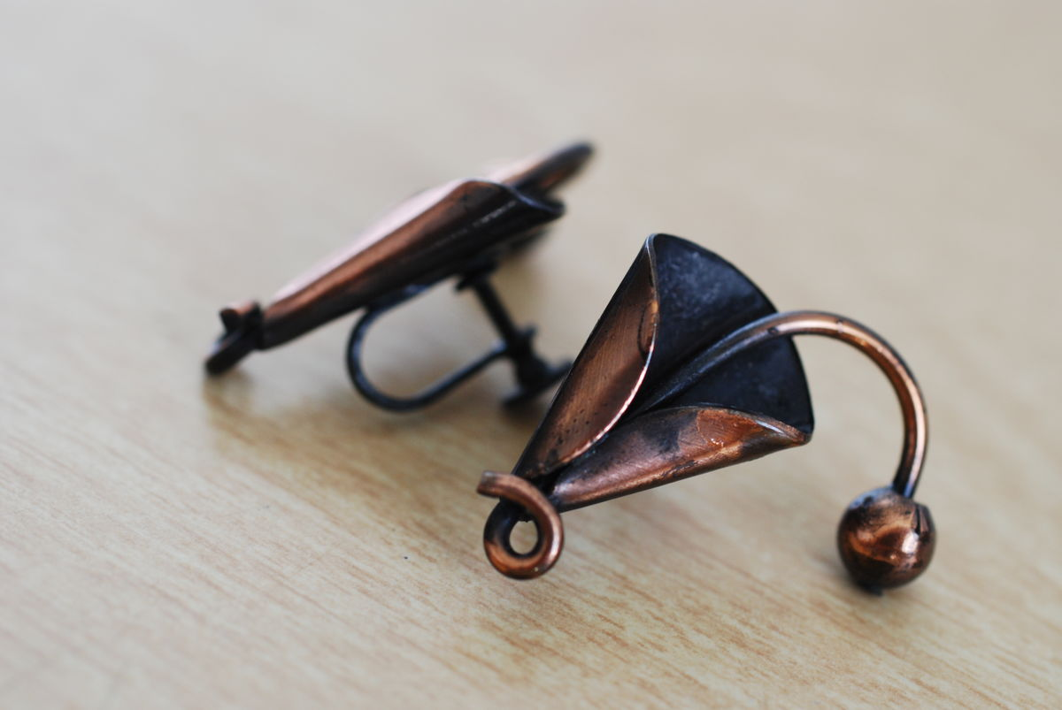 Copper Calla Lily Earrings Abstract Screw Back - product images  of