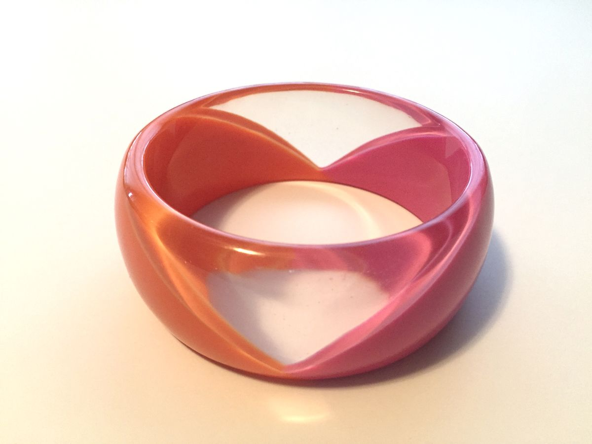 Chunky Lucite Bangle Pink, Orange, and Clear - product images  of