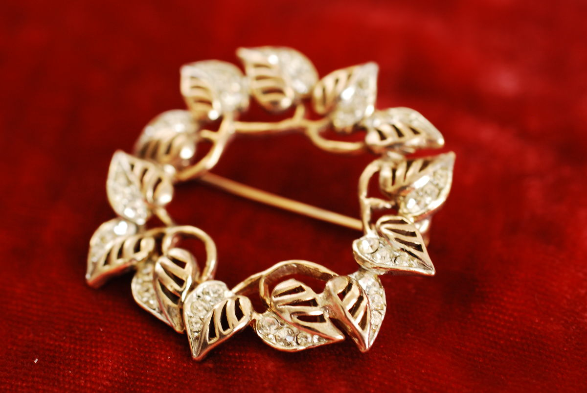 Vintage Circle Brooch Leaves and Rhinestones - product images  of