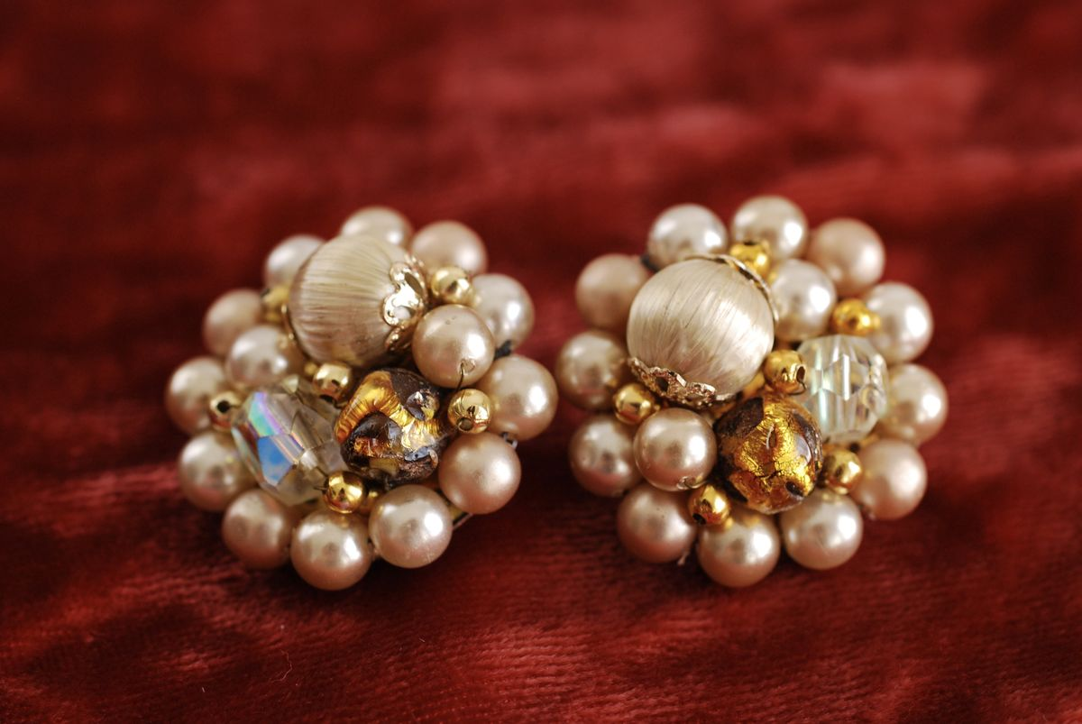 Vintage Cluster Earrings pearls, AB crystals in beige - product image