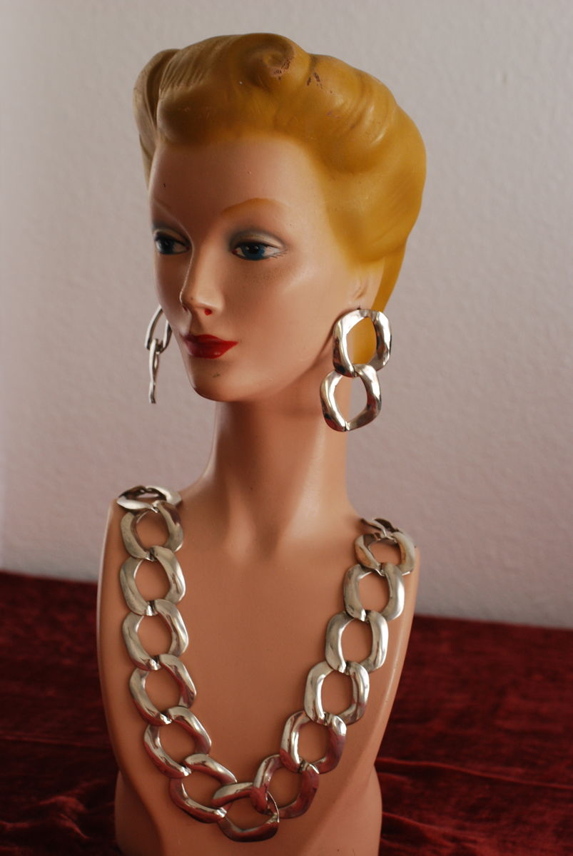 Chunky Chain Necklace & Earrings Silver Metal - product images  of
