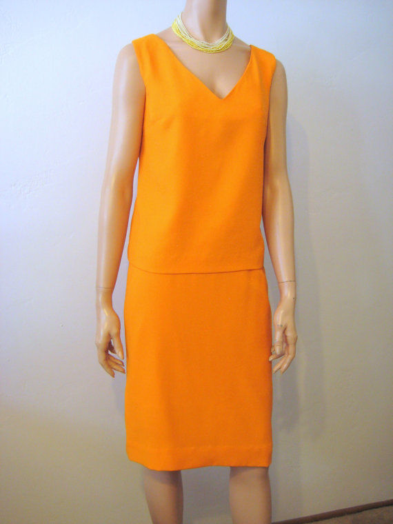 2 Piece Dress Skirt and Tank Top Designer Tangerine Sparkle - product image