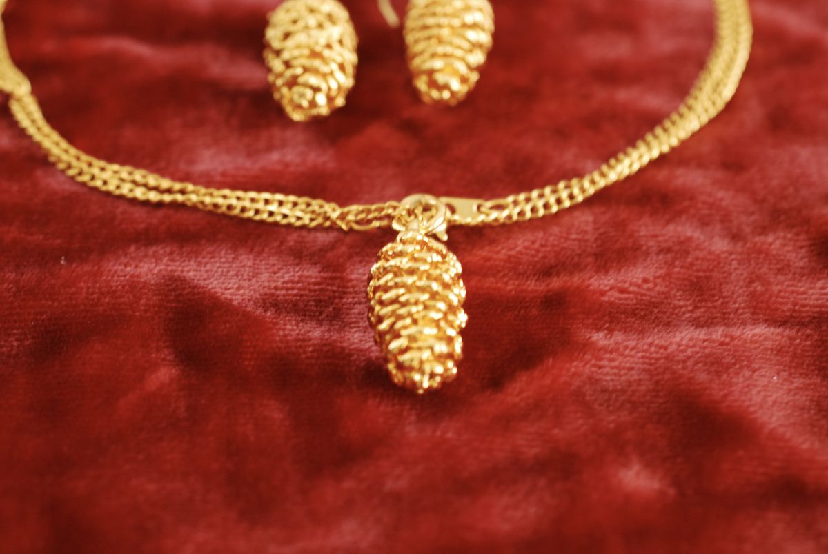 Pine Cone Pendant and Earrings set gold tone - product images  of