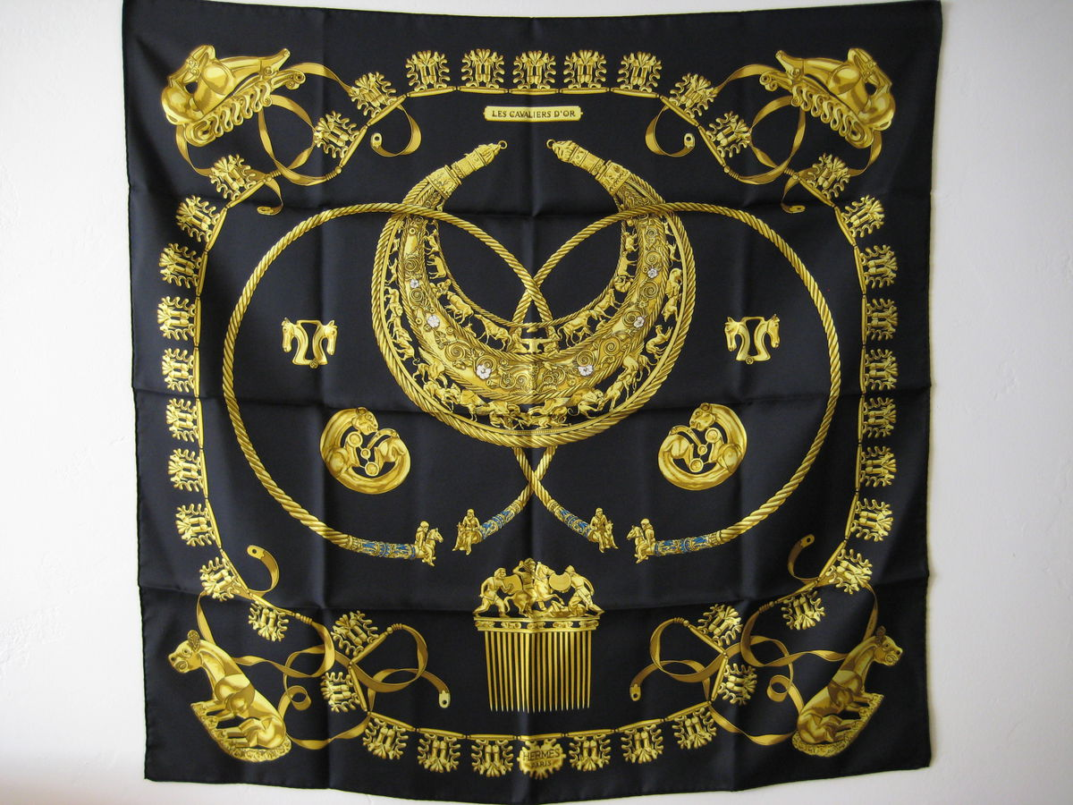 Hermes Silk Scarf Carre: Cavaliers d'Or by Rybal in Black - product image