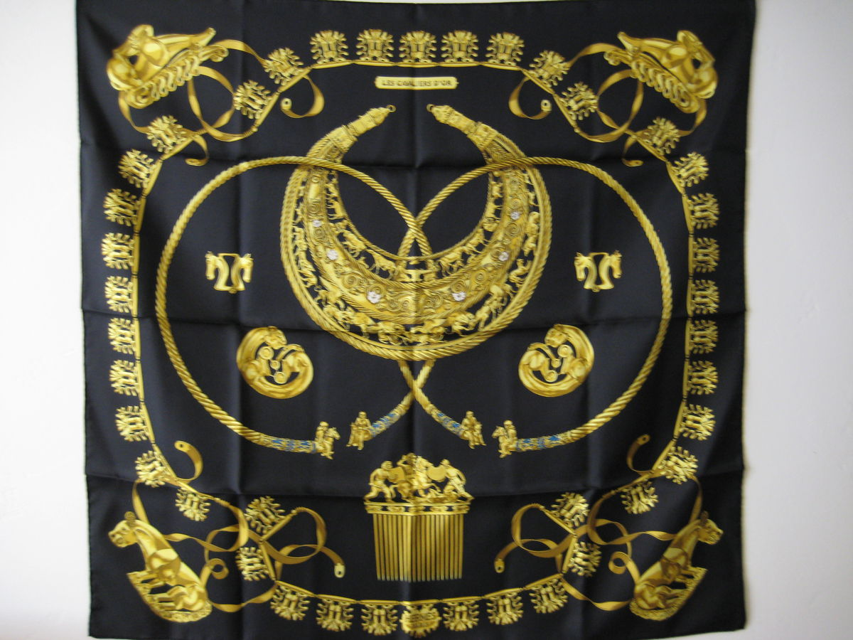 Hermes Silk Scarf Carre: Cavaliers d'Or by Rybal in Black - product images  of