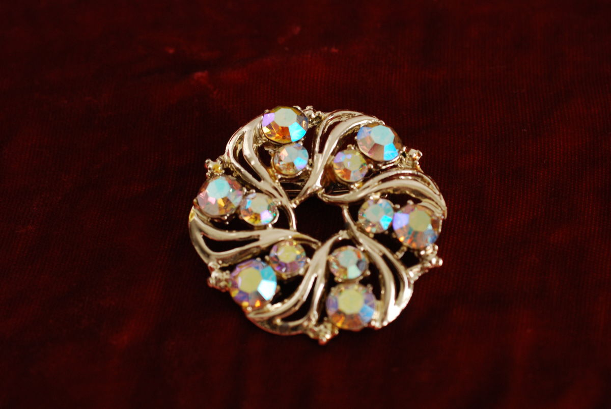 Vintage Circle Brooch AB Rhinestones - product images  of