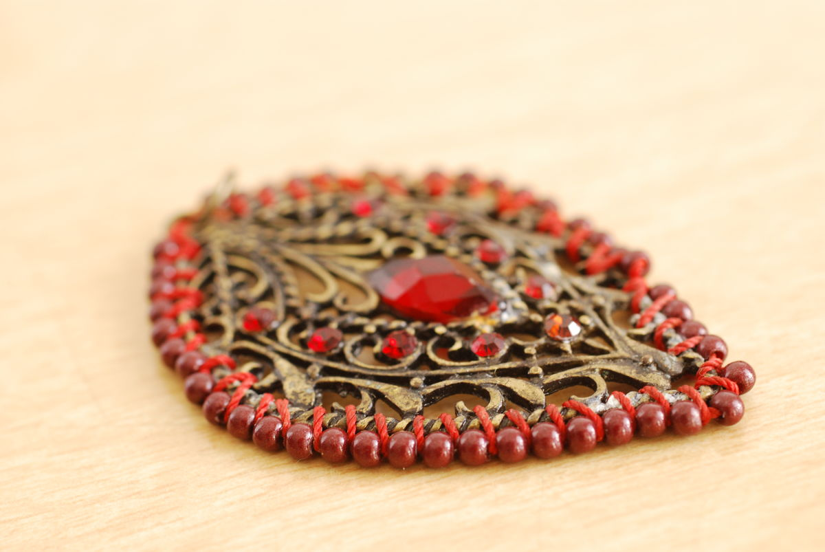 Gothic Style Red and Brass Pendant - product images  of