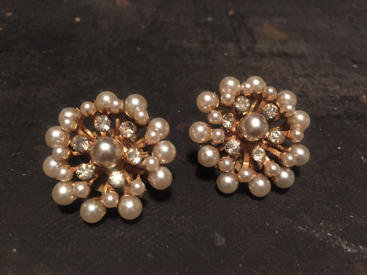 Vintage Miriam Haskell Signed Earrings Pearl and Rhinestone - product image