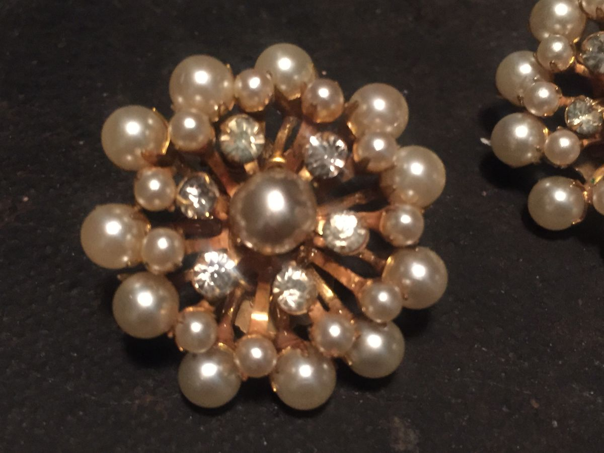Vintage Miriam Haskell Signed Earrings Pearl and Rhinestone - product images  of