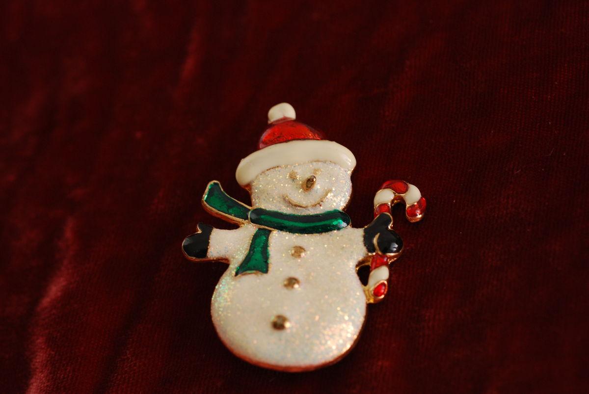 Vintage Snowman Brooch Sparkle Glitter