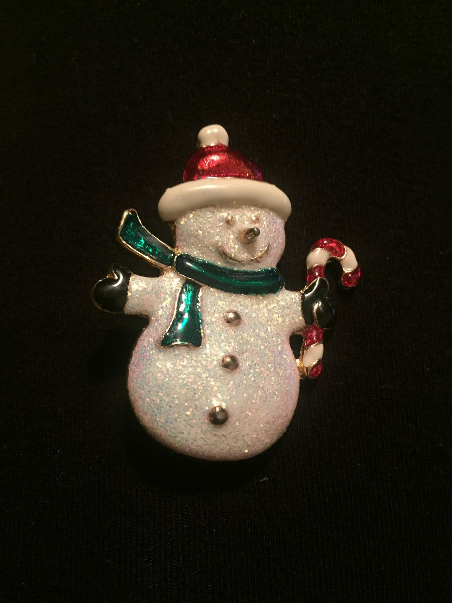 Vintage Snowman Brooch Sparkle Glitter - product images  of