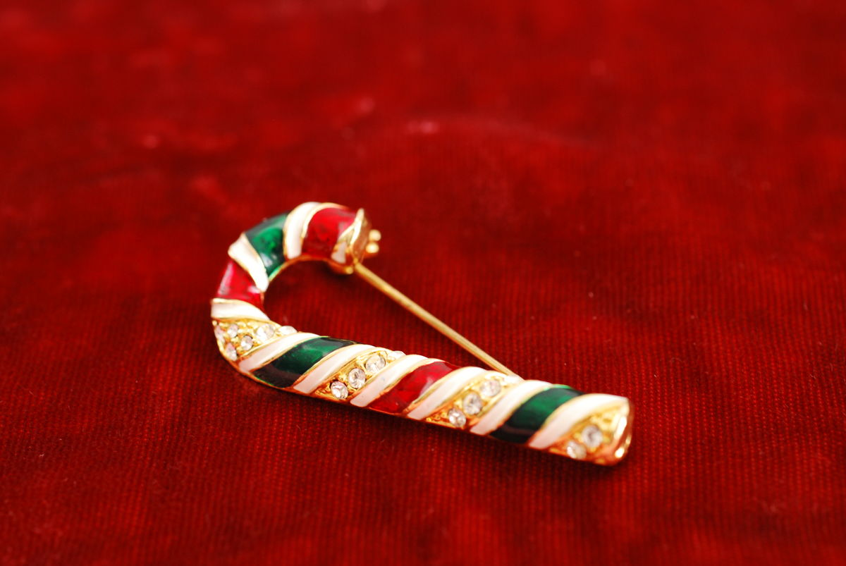 Vintage Candy Cane Brooch Rhinestone Enamel - product images  of