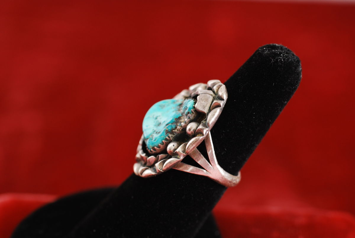 Native American Sterling and Turquoise Ring size 7 - product images  of