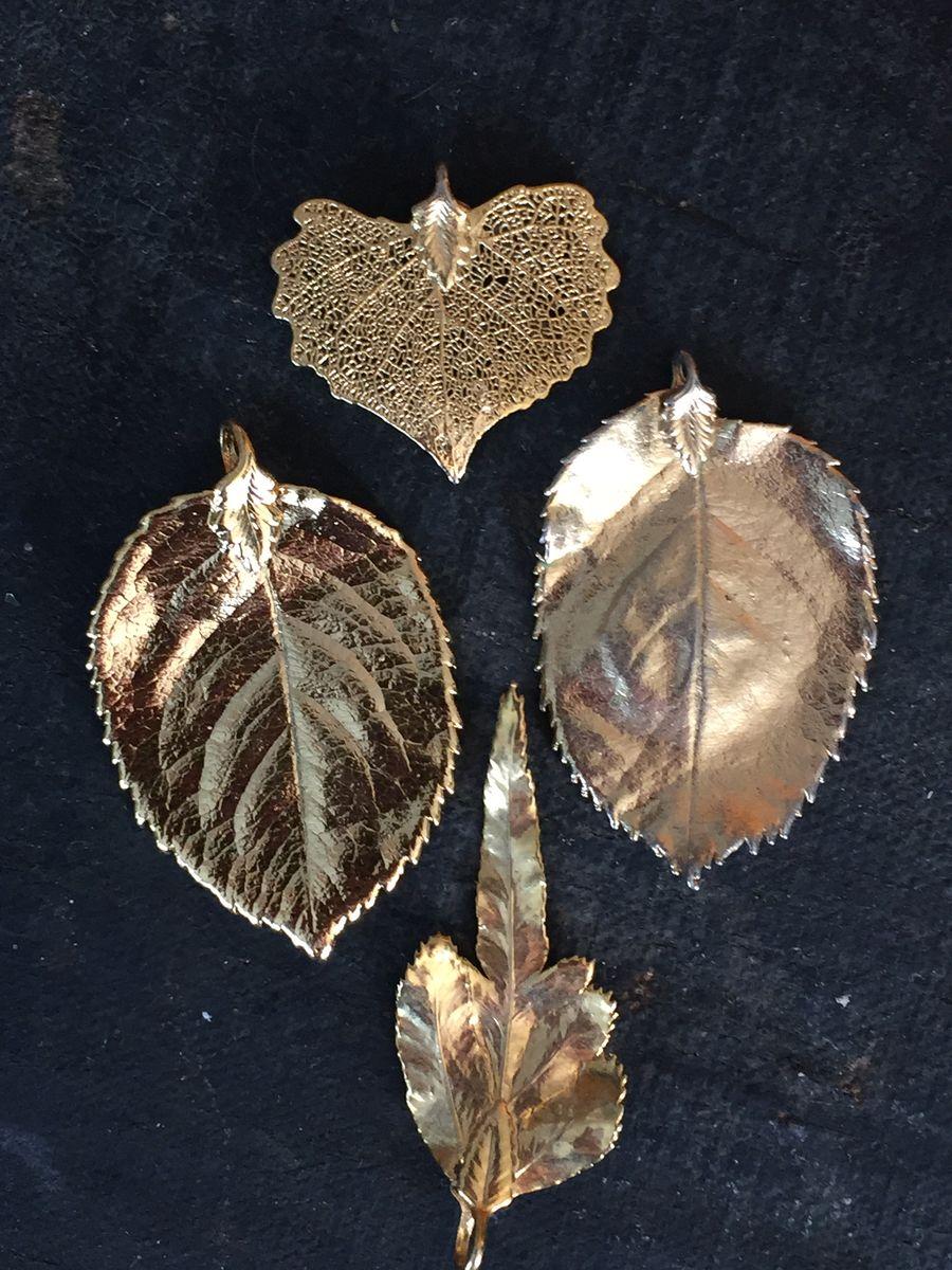 Gold plated leaf pendants set of four vintage renude gold plated leaf pendants set of four product images of aloadofball Image collections
